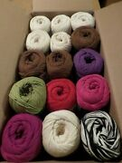 Mixed Lot 15 Large Skeins 100 Cotton Yarn Bernat Handicrafter And Lion Cotton