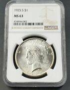 1925 S Peace Silver Eagle Dollar Coin Ngc Ms63 Ch Bu Unc Certified