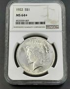 1922 P Peace Silver Eagle Dollar Coin Ngc Ms64 + Plus Ch Bu Unc Certified