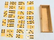 Antique 28 Tested Bakelite Yellow Dominoes W Original Finger-jointed Wooden Box