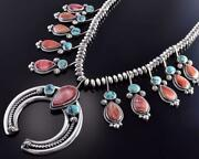 Silver And Turquoise Spiny Oyster Shell Squash Blossom Necklace Erick Begay 1d16s