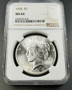 1935 P Peace Silver Eagle Dollar Coin Ngc Ms64 Ch Bu Unc Usa Last Year Of Type