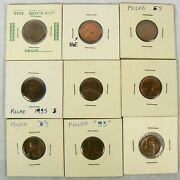 4 1955 D And 5 1955 S Lincoln Wheat Copper Penny Cent - Some With Error