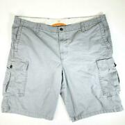 Dockers Mens Cargo Shorts Size 42 Gray Solid Cotton Mid Rise Flat Front Pockets