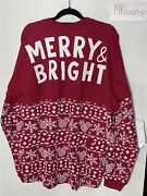 Disney Mickey Mouse Merry Bright Holiday Spirit Jersey Adult Small Christmas Nwt
