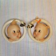1930s Hummel Ba-bee Ring Ornaments Baby Girl Boy Wall Plaque Porcelain Germany