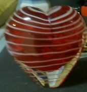 Vintage Red Heart Art Glass...blown Glass  4 Inch Tall Bud Vase Or Paper Weight