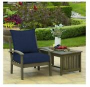 Pack 3 Blue Out Door Chair Deep Seat Back Cushion Pad Set Patio Furniture