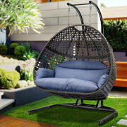 1-2 Person Swing Chair X-large Wicker Rattan Loveseat Hanging Eggs Chair+cushio