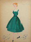 1961 Vintage Girl Costume Design Gouache Drawing Signed