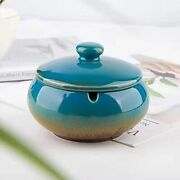 Ashtray Ceramic Ashtray With Lids Windproof Cigarette Ashtray For Indoor Outdoor
