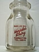 Vintage 1/2 Pint Milk Bottle From Harjala's Dairy, Thomaston, Maine With Rooster