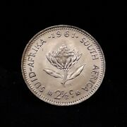 1961 South Africa Union Silver Transitional 2 1/2 Cents Unc/bu Km-58 Sa2