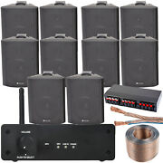Wi-fi Wall Speaker Kit - 5 Zone Stereo Amp And 10x 70w Black Wall Background Music
