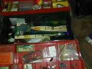 Vintage Fishing Gear In Tackle Box Wood And Plastic Lures
