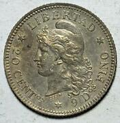 Argentina 20 Centavos 1883/2 Toned Ch. Almost Uncirculated .1447 Ounce Silver