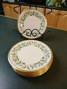 Set Of 7 Lenox Holiday Dimension Gold Trimmed China Bread And Butter Plate 6-1/2