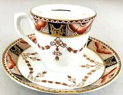 Vintage Colclough Teacup And Saucer Set Imari Pattern Red Blue And Gold England