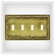 Quad Switch Plate Paisley Tumbled Antique Brass Franklin Brass 64043