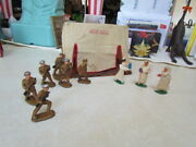 Vintage Barclay Manoil Mess Hall Tent With 3 Lead Figures And 6 Plastic Soldiers