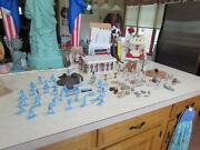 Vintage Marx Blue And Gray Battle Play Set 90 Complete No Box