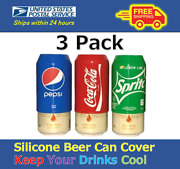 3 Pack Beer Can Covers,silicone Sleeve Hide A Beer Coca-cola,pepsi,sprite12oz
