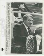 1976 Press Photo Boston Braves Basketball Club Owner Paul Synder Watches Ny Game