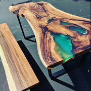 Green Epoxy Table Walnut Wooden Resort Coffee Table Top Decorative Made To Order