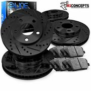 [complete Kit] Black Drilled Slotted Brake Rotors And Semi-met Pads Cbc.6507902