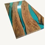 Green Epoxy Resin Table Dining Top Wooden Furniture Acacia Decor Made To Order