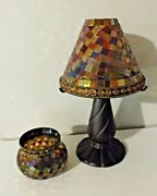 Lot 2 Partylite Global Fusion W/earth Tone Tiles Lamp And Candleholder