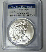 Pcgs Ms70 2013-w American Silver Eagle 1 Oz Dollar No Mint Mark On Coin