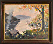 Early New England Plein Air Painting Of Cove With Cabin, John J. Bokeny, 22x28