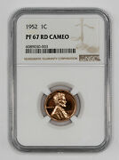 1952 Proof Lincoln Wheat Cent Penny 1c Ngc Certified Pf 67 Red - Cameo 003