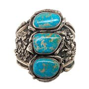 Vintage Native American Sterling And Turquoise Unisex Cuff Bracelet