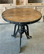 Modern Industrial Iron Age Crank Table, Round Bar Table, Kitchen Island Table