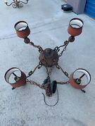 Wrought Iron Chandelier /red Painted Metal Tole Shades / Revival Antiques