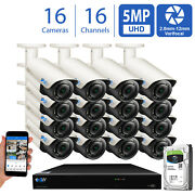16ch Nvr 16 X 5mp 2.8-12mm Varifocal Microphone Ip Bullet Security Camera System