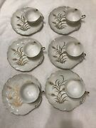 Lefton China Hand Painted Shell Shaped Sandwich Plate And Tea Cup Sets 6
