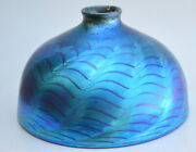 Blue Luster Dome Shade With Red Murano Design. Blown Glass By Saul Alcaraz