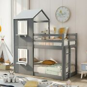 Twin Bunk Bed Wood Bed With Roof House , Window , Ladder For Kids Bedroom