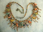 Vtg 1950's African Huge Long Necklace Wood Hand Carved Animals Beads Necklace