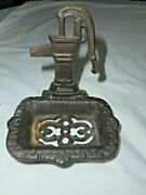 Old Farmhouse Faucet Water Pump Cast Iron Soap Dish Rustic Ornate Antique Style