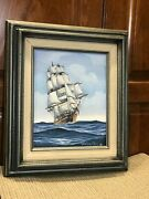 Sgn John Richard Perry 8x 10 Painting On Board Large Sailing Ship 15x 13 Frame