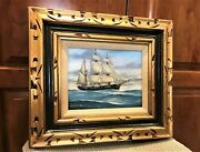 Sgn John Richard Perry 8x 10 Painting On Board Large Sailing Ship 16x 18 Frame