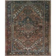 10and039x12and0391 Cropped Thin Farsian Heris Clean Wool Hand Knotted Brown Rug R61176