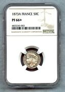 France 1873 A 50 Centimes Silver Ngc Pf66+ Rare
