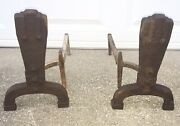 Rare Arts And Crafts Andirons Hammered Cast Iron Riser Mission Fire Dogs
