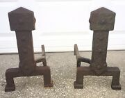 Rare Arts And Crafts Andirons Hammered Cast Iron Riser Mission Fire Dogs Stickley