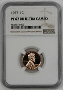 1957 Lincoln Cent 1c Proof Ngc Certified Pr Pf 67 Rd Ultra Cameo Deep 002